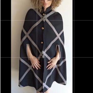 Francesca Damon black & white classic poncho cape